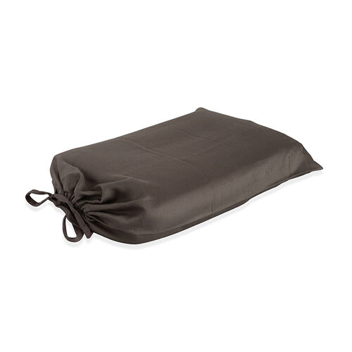 100% Cotton Chocolate Colour Single Fitted Sheet (Size 190x90 Cm) and One Pillow Case (Size 75x50 Cm)