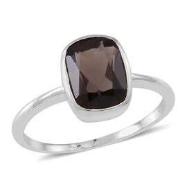 Brazilian Smoky Quartz (Cush) Solitaire Ring in Sterling Silver 2.500 Ct.