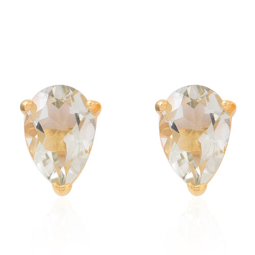 Green Amethyst (Pear) Stud Earrings (with Push Back) in 14K Gold Overlay Sterling Silver 5.000 Ct.