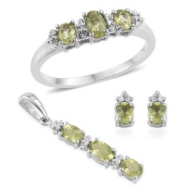 Hebei Peridot (Ovl) Ring, Pendant and Stud Earrings (with Push Back) in Platinum Overlay Sterling Silver 1.500 Ct.