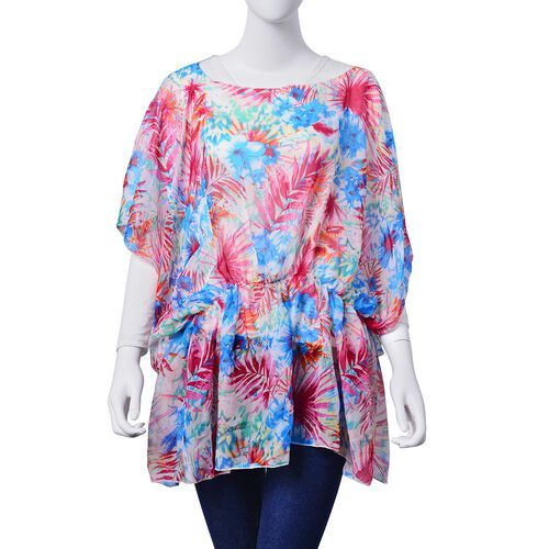 Fuchsia and Blue Colour Floral and Leaves Pattern White Colour Tunic (Free Size)