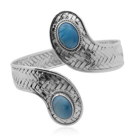 Royal Bali Bamboo Weave Collection Larimar (Ovl) Bangle (Size 7.5) in Sterling Silver 12.800 Ct. (Silver wt 25.00 Gram)
