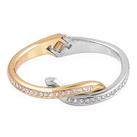 Designer Inspired AAA Austrian Crystal Bangle (Size 7) in Yellow and White Gold Tone