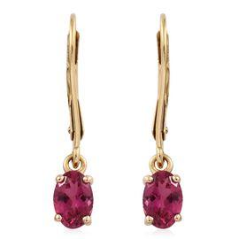 ILIANA 18K Y Gold Rubelite (Ovl) Lever Back Earrings 1.000 Ct.