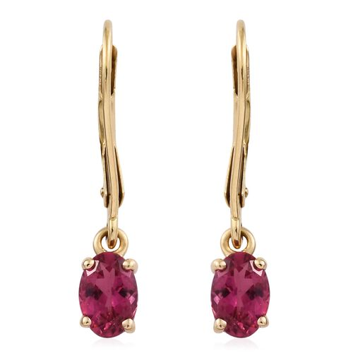 ILIANA 18K Yellow Gold 1 Carat Rubelite Oval Solitaire Lever Back Earrings.