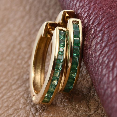 Kagem Zambian Emerald (Sqr) Hoop Earrings (with Clasp) in 14K Gold Overlay Sterling Silver 1.000 Ct.