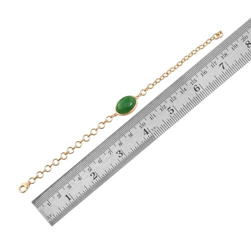 Green Jade (Ovl) Bracelet (Size 7.5) in 14K Gold Overlay Sterling Silver 11.000 Ct.