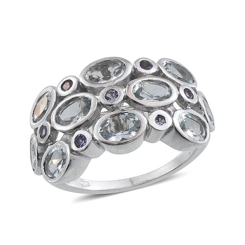 Espirito Santo Aquamarine (Ovl), Tanzanite Ring in Platinum Overlay Sterling Silver 3.750 Ct.