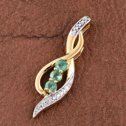 Kagem Zambian Emerald (Rnd) Trilogy Pendant in 14K Gold Overlay Sterling Silver 0.500 Ct.