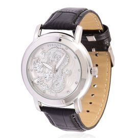 STRADA Japanese Movement White Austrian Crystal Studded Dragon Pattern Silver Dial Water Resistant Watch in Silver Tone with Black Colour Strap