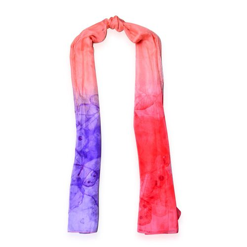 Butterfly Pattern Purple, Red and Peach Colour Scarf (Size 190x135 Cm)