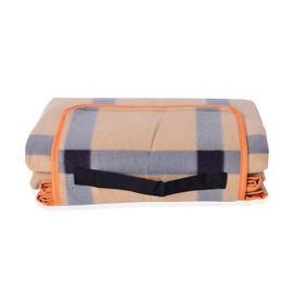 Waterproof Picnic Blanket, Oeko-Tex Certified, Beige and Light Blue, (Family-Size 165x130 Cm)