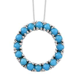 Arizona Sleeping Beauty Turquoise (Rnd) Circle Pendant with Chain in Platinum Overlay Sterling Silver 2.000 Ct.