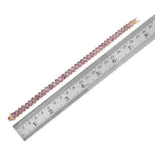 Rose De France Amethyst (Ovl) Bracelet (Size 7.5) in 14K Gold Overlay Sterling Silver 15.000 Ct.