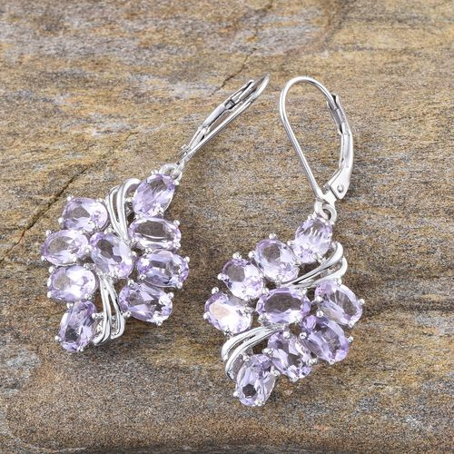 Rose De France Amethyst (Ovl) Lever Back Earrings in Platinum Overlay Sterling Silver 6.500 Ct.