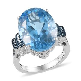 Electric Swiss Blue Topaz (Ovl 15.25 Ct), Diamond Ring in Platinum Overlay Sterling Silver 15.350 Ct.