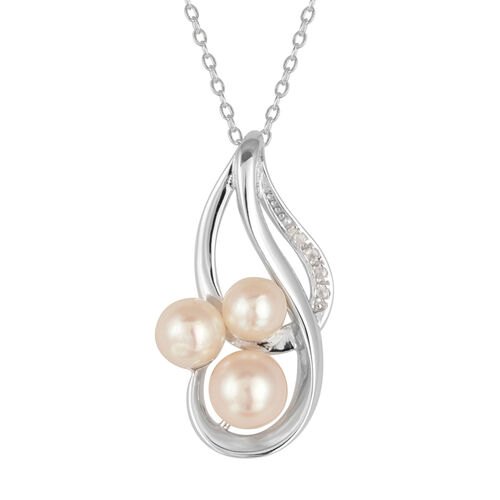 Japanese Akoya Pearl (Rnd 1.75 Ct), White Topaz Pendant With Chain in Platinum Overlay Sterling Silver