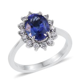 RHAPSODY 950 Platinum AAAA Tanzanite (Ovl 1.35 Ct), Diamond (VS E-F) Halo Engagement Ring 1.750 Ct.