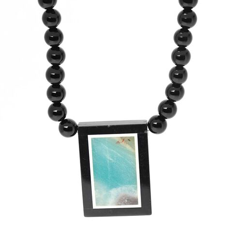 Russian Amazonite, Black Agate Necklace (Size 18) in Stainless Steel 160.00 Ct.