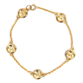 LucyQ 5 Button Bracelet in Gold Overlay Sterling Silver (Size 7.5) 6.00 Gms.