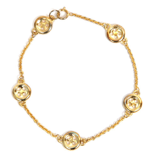 LucyQ 5 Button Bracelet (Size 7.5) in Yellow Gold Overlay Sterling Silver 6.00 Gms.