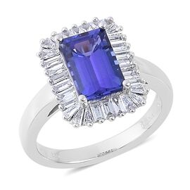 ILIANA 18K W Gold AAA Tanzanite (Oct 2.50 Ct), Diamond Ring 3.250 Ct.