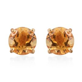 Citrine Round 2.50 Carat Solitaire Silver Stud Earrings in Gold Overlay.