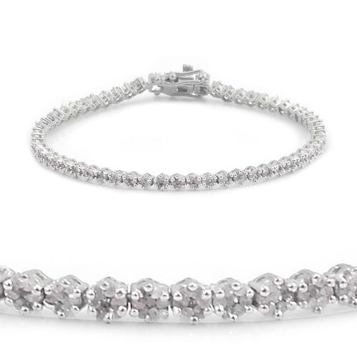 Diamond (Rnd) Bracelet in Platinum Overlay Sterling Silver (Size 8) 2.000 Ct.