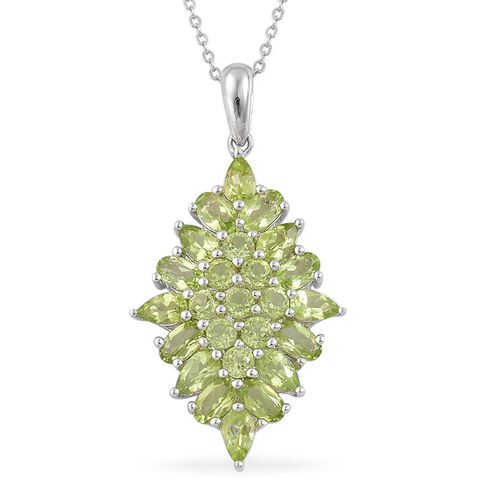 AA Hebei Peridot (Pear) Pendant With Chain in Rhodium and Platinum Overlay Sterling Silver 4.500 Ct.