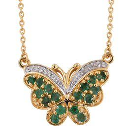 Kagem Zambian Emerald (Rnd), Diamond Butterfly Pendant with Chain (Size 18) in 14K Gold Overlay Sterling Silver 1.000 Ct.