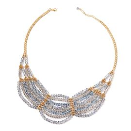 White and Multi Colour Faceted Crystal Necklace (Size 20) in Gold Tone
