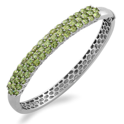 Hebei Peridot (Ovl) Bangle in Sterling Silver 9.250 Ct.