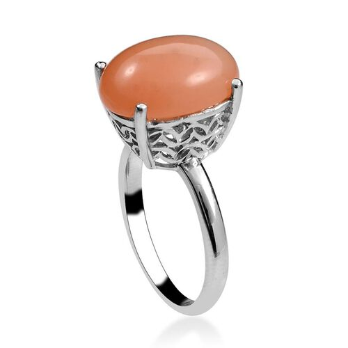 Mitiyagoda Peach Moonstone (Ovl) Solitaire Ring in Platinum Overlay Sterling Silver 7.500 Ct.