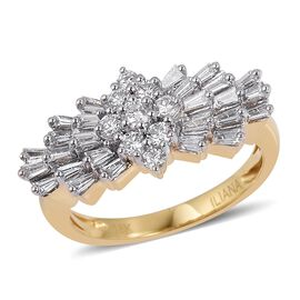 ILIANA 18K Y Gold IGI Certified Diamond (Rnd) (VS- SI/G-H) Cluster Ring 1.000 Ct.