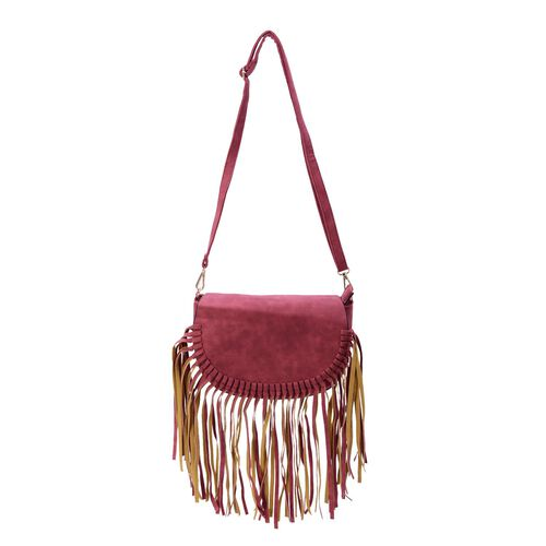 Red Colour Crossbody Bag with Fringes and Adjustable and Removable Shoulder Strap (Size 25.5x17.5x8.5 Cm)