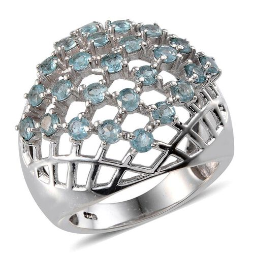 AA Paraibe Apatite (Rnd) Net Design Ring in Platinum Overlay Sterling Silver 2.250 Ct.