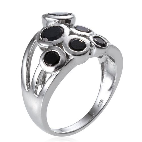 Boi Ploi Black Spinel (Rnd) Ring in Platinum Overlay Sterling Silver 3.250 Ct.