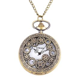 STRADA Japanese Movement White Dial Gear Design Vintage Style Water Resistant Pocket Watch Necklace in Gold Tone with Stainless Steel Engrave Back