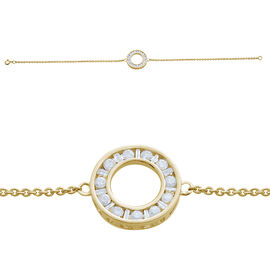 9K Y Gold SGL Certified Diamond (Rnd) (I3/ G-H) Circle Bracelet (Size 7.5) 0.500 Ct.