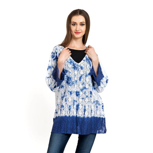 100% Cotton Laser Cut Floral Pattern White and Blue Colour Ombre Effects Poncho (Size 70x50 Cm)