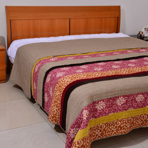 100% Cotton Multi Colour Paisley and Leaves Pattern 4 Season Quilt (Size 260x240 Cm)