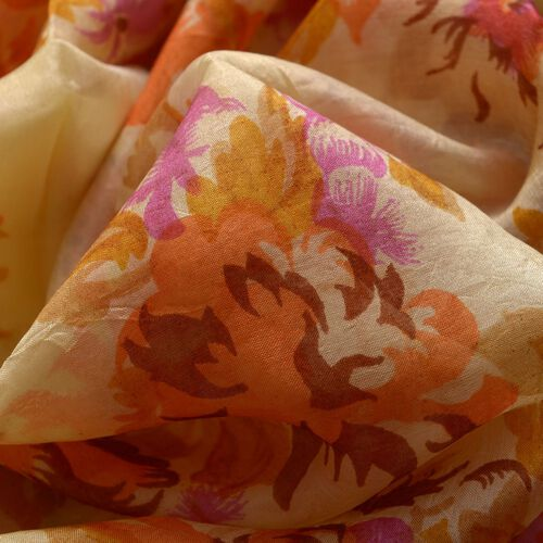 100% Mulberry Silk Yellow, Orange and Multi Colour Leaves and Floral Pattern Scarf (Size 170x50 Cm)