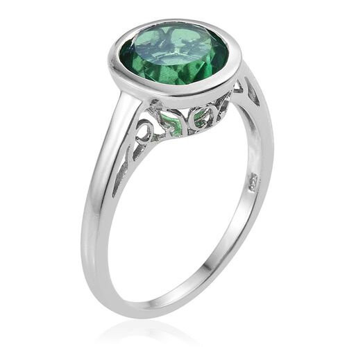 Peacock Quartz (Rnd) Solitaire Ring in Platinum Overlay Sterling Silver 4.000 Ct.