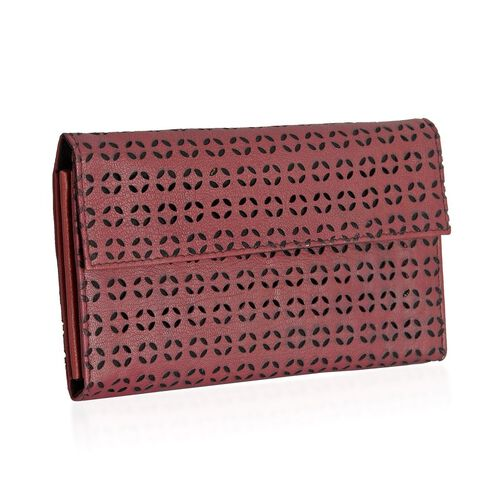 Genuine Leather Cut Work Pattern Marsala Colour Clutch Bag (Size 23x13 Cm)