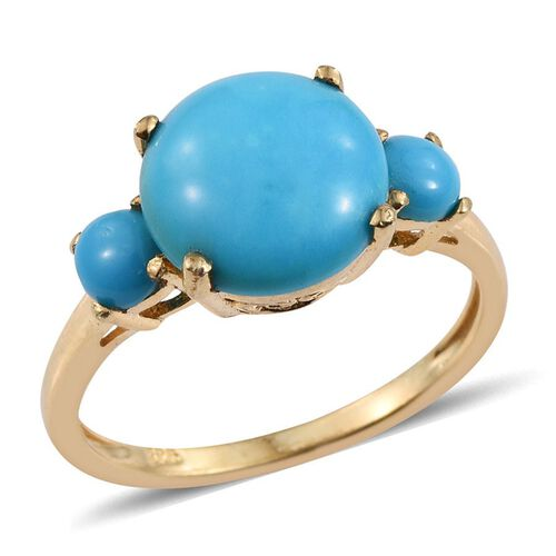 Arizona Sleeping Beauty Turquoise (Rnd 2.75 Ct) 3 Stone Ring in 14K Gold Overlay Sterling Silver 3.000 Ct.