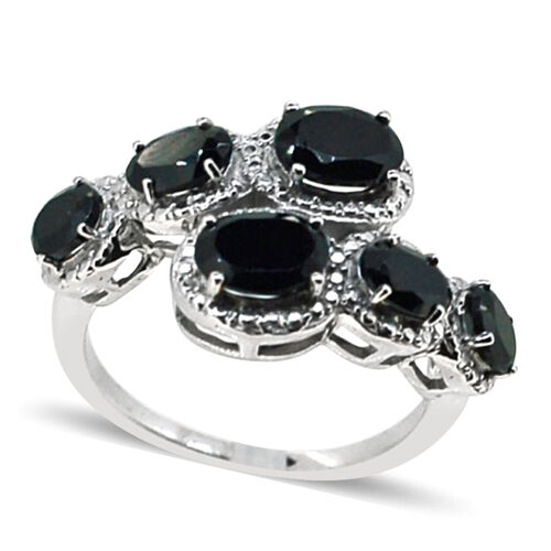 Boi Ploi Black Spinel (Ovl) Ring in Rhodium Plated Sterling Silver 4.100 Ct.