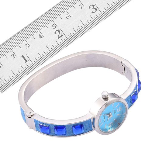 STRADA Japanese Movement Blue Dial Simulated Blue Stone Water Resistant Bangle Watch with Pink and Blue Austrian Crystal, Simulated White Stone Bracelet (Size 8) in Silver Tone