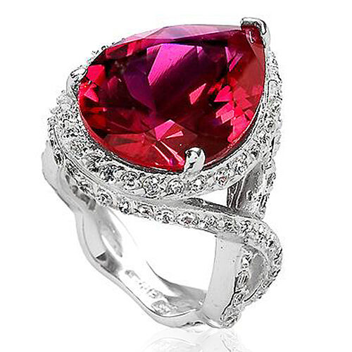 ELANZA Simulated Red and White Diamond Platinum Overlay Sterling Silver Ring   22.000  Ct.