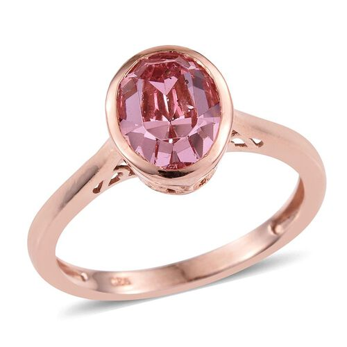 Crystal from Swarovski - Rose Crystal (Ovl) Solitaire Ring in Rose Gold Overlay Sterling Silver