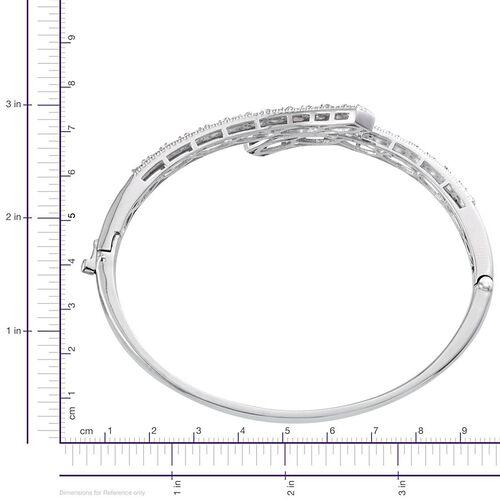 Espirito Santo Aquamarine (Ovl) Bangle (Size 7.5) in ION Plated Platinum Bond 3.250 Ct.